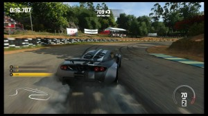 The Hennessey Viper Venom GT is the lone non-European car in the entire retail game. It also seems most at home when it's careening down the track sideways, which is a good thing, because it spends a LOT of time doing that.