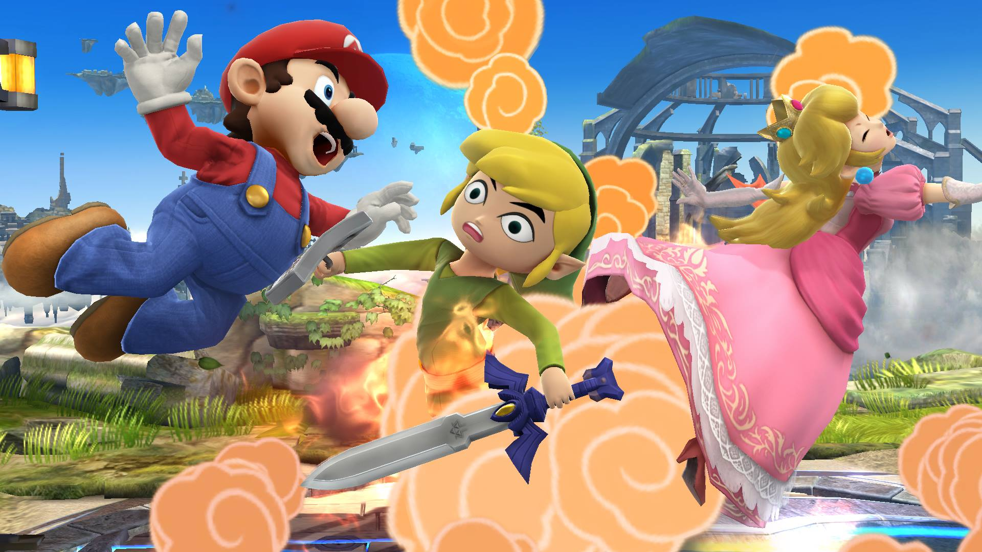 Super-Smash-Bros-3DS-Wii-U-Toon-Link-Peach-Mario-Battlefield
