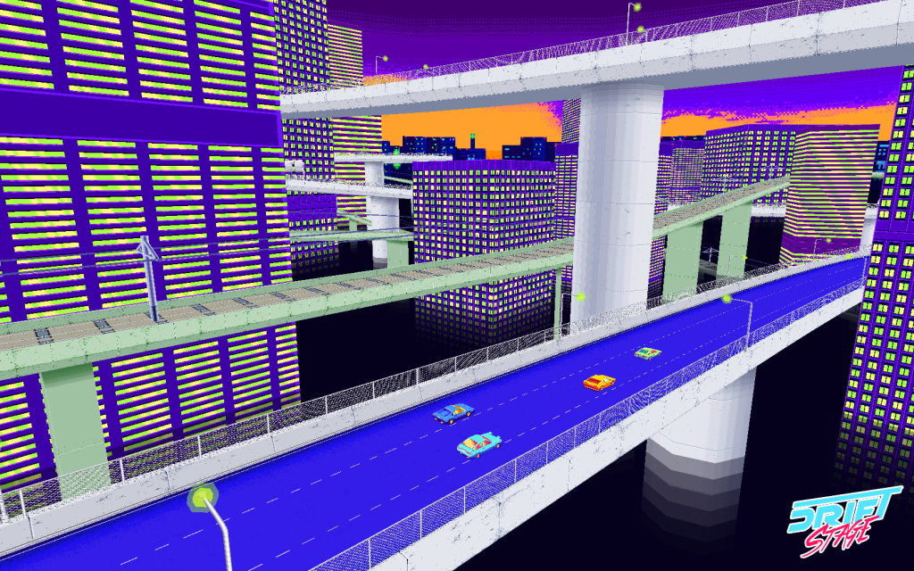 Almost a Ridge Racer V feel coming from this overhead shot of Sunset City.