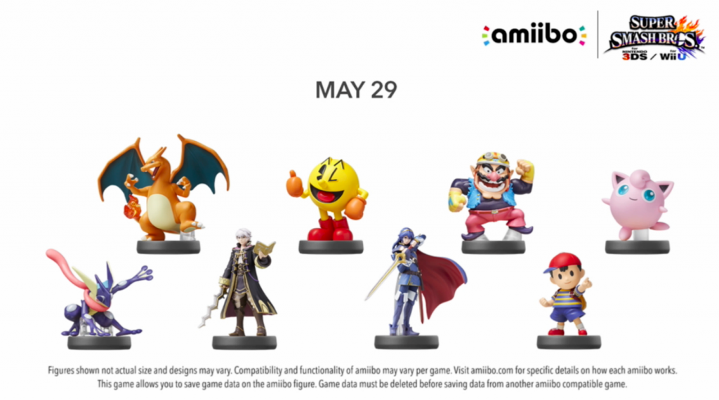 The highly anticipated 4th wave of Super Smash Bros. amiibo will hit store shelves on May 29.  Actually, they won't hit store shelves, they'll go from the box to the hands of consumers.