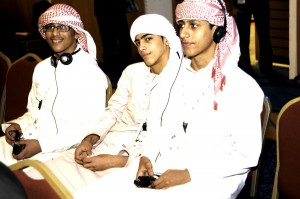 Students at the BSEC Mena,The Building Schools conference at the Abu Dhabi National Exhibition Centre (ADNEC).