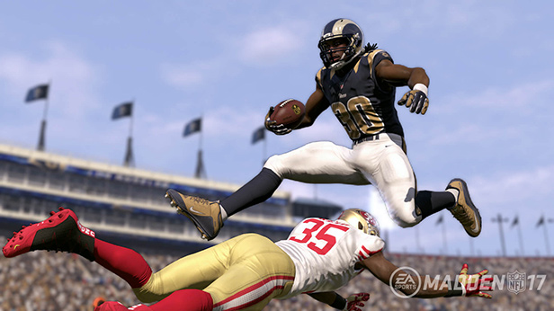 That's not Todd Gurley making a spectacular leap. That's Eric Reid missing a tackle.